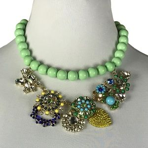 Betsey Johnson Statement Necklace Green Blue New